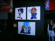 Pictures of well known characters on wall of final area